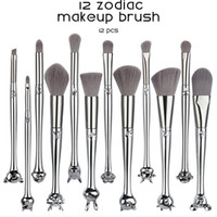 Hot Zodiac Maquiagem Brushes Set 12 pcs Fundação Blending Blush Eyeshadow Eye Low Fan Lábio Lábio Beleza Ferramentas Make Up Brushes Kitfreeship