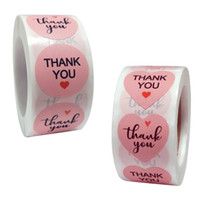 500pcs Roll Pink Thank You Stickers Red Heart Circle Sticker...