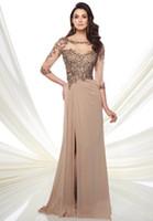 花嫁の半袖シフォン母の花嫁のドレス2020エレガントなビーズの長いパーティープロムイブニングガウンMD018