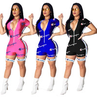 Champion women short sleeves jumpsuit sexy romper fashion sk...