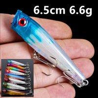 8 색 6.5cm 6.6g 포퍼 낚시 후크 fishhooks 8 # 후크 낚시 미끼 하드 미끼 PESCA 낚시 태클 액세서리 FS_31