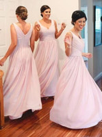 Fashion V- neck A- Line Chiffon Long Pleated Bodice Gown Bride...
