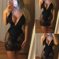 New Hot vente Sexy femmes perles tulle transparent Robe moulante Crayon Clubwear Party Mini-robe femme Ladies manches Robes