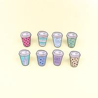 الدينيم الملابس الجديدة لطيف الشراب لؤلؤة الحليب الشاي كأس بروش نقطة نمط الكرتون المرح المينا دبابيس اكسسوارات للاطفال قلادة هدية
