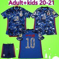 플레이어 버전 팬판 에디션 일본 축구 유니폼 만화 # 10 원자 2020 2021 소년 세트 Maillot Japon 홈 블루 20 21 성인 키트 축구 셔츠
