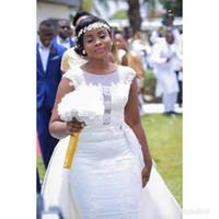 Cap Vestido Sexy destacável Vintage do casamento do laço da luva Jewel Neck vestido de casamento nupcial de alta qualidade Custom Made Vestido de Novia
