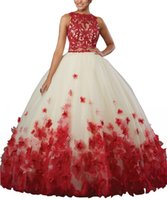 Fashion 3D Floral Flowers Red Quinceanera Prom dresses 2019 ...