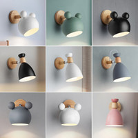 Modern Macaron Wall Lamp Wooden Base Light Bedside Bedroom I...