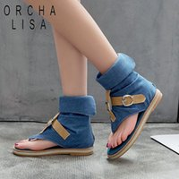ORCHA LISA Blue Denim shoes woman buckle Gladiator Sandals W...