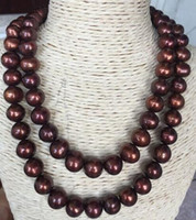 Double Strands 12- 13mm South Sea Baroque Chocolate Pearl Nec...