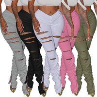 женщины дырки Ripped плиссированного раскол вспыхнули сложенные брюки дизайнерских леггинсы сплошного цвета Sweatpants Sports бегунов случайных брюки женские одежды
