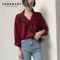 c16642a767b New Arrival. Cheerart Korean Fashion Ladies Blouses V Neck Lapel Women  Shirts ...