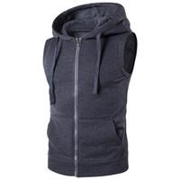Vest Mens Moda Sólidos mangas Hoodies Cardigans Jacket Outono Primavera Zipper Pockets Masculino Vest Casual Tops Colete