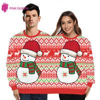 Suéteres de mujer Hombres y dos personas Suéter de Navidad feo O cuello de manga larga conjuntos con dos parejas de mujer Jersey de punto