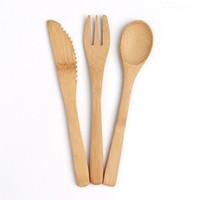 3шт / набор Бамбук Посуда множество 16см натурального бамбука Столовые приборы Посуда столовая нож Вилка Ложка Открытый кемпинга Посуда Набор Кухня HHA1072