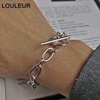 projeto LouLeur 925 prata corrente bruto pulseiras fivela prata Ingenuity funciona pulseiras elegantes para CX200706 mulheres jóias dom