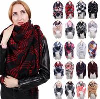 女性の格子縞のスカーフ41スタイルパシュミナ冬の特大140x140cmショールのアクリルワープ編み暖かいスカーフLjjo7147