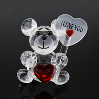 Crystal Collection Teddy Bear Figurines Pink Blue Wedding Fa...