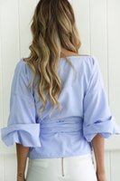 Design Deep V Neck Summer Short Top Womens Blouse Shirt Off Shoulder Latern Sleeves Big Crossing With Bow Pepulm