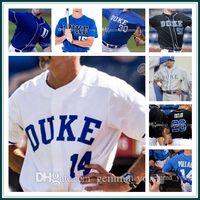 Homens Custom Duke Blue Devils NCAA College Baseball 3 Chris Crabtree 7 Marcus Stroman 9 Griffin Conine 13 Ryan Dia 33 Adam Laskey Sewn Jerseys