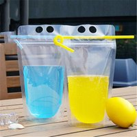Clear Drink Pouches Bags frosted Zipper Stand-up Plastic Drinking Bag with straw with holder Reclosable Heat-Proof R1284