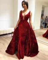 Oscuro rojo con lentejuelas sirena Sexy V cuello elegante vestidos de noche formales indios Zuhair Murad Celebrity Vestidos Sudáfrica