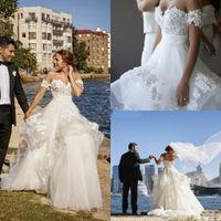 Beach A-line Wedding Dresses 2019 Modest Off Shoulder 3D Floral Applique Tiered Skirt Puffy Summer Holiday Garden Bridal Wedding Gown