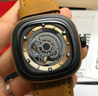 Luxury men's watch Miyota82S7 mechanical movement SF-P2B/03 thickened mineral glass cattle belt buckle size: 47*13mm