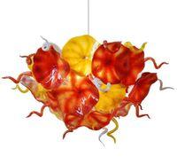 이제 동향 꽃 플레이트 샹들리에 조명 오렌지 노란색 디자인 손 불어 유리 체인 LED 조명기구 샹들리에