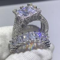 Vente en gros-Brand New Bijoux Vintage Fashion 925 Cut en argent sterling Princesse topazes CZ diamant femmes anneau de mariage nuptiale Ensemble-cadeau