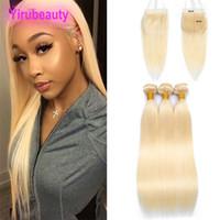 Bundles de cheveux vierges malaisiens avec six sur six fermeture en dentelle droite blonde 613 # extensions de cheveux humains avec fermetures de dentelle 6x6