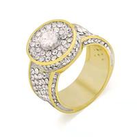 Anéis de hip hop anel de cluster para os homens anéis de ouro clássico cheio de diamantes de cobre banhado a ouro de luxo designer de jóias presentes para o namorado