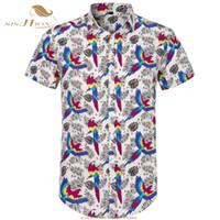 SISHION Camisa de manga corta de los hombres Loro Palm Imprimir Summer Beach Camisa hawaiana Tallas grandes Camisas florales Hombres Ropa casual de vacaciones