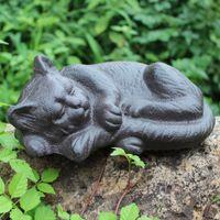 Ferro battuto Gatto di sonno rurale Ghisa Cat Animal Figurine Cottage Baite Lodge Yard Garden Decor Outdoor Country Ornament Vintage statua