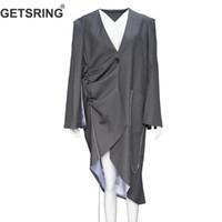 Женские костюмы Blazers Tossring Женщины Blazer Нерегулярная длинная свободная куртка с алмазной цепью женские куртки асимметрии пальто пружины