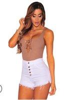 Джинсы шорты высокой талией кисточкой Шорты Очередные Новые Женщины Pure Color Короткие штаны Женская кнопка Конструктор Fly