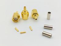 1000 unids RP SMA conector macho conector coaxial RF para RG316 RG174 cable PTFE recto