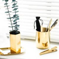 oro ottone Vaso 400ml stile nordico Holder Multi Uso Pencil Pot Cup contiene supporto in acciaio inox Cilindro Pen per Desk organizzatori LXL825Q