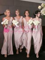 Mütevazı A-Line V Yaka Nedime Elbisesi A Hattı Plus Size Ayak bileği Uzunlukta Allık Streç Saten Hizmetçi Onur Düğün Konuk Kıyafeti Ülke Düğün için