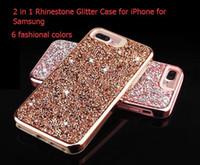 Donne della signora fashional Premium bling 2 in 1 di lusso del Rhinestone del diamante di scintillio della cassa del telefono di iPhone XR XS MAX X 8 7 6 Samsung Note 9 shell