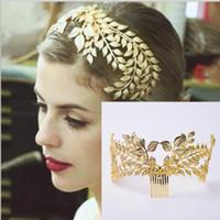 Barok asil gelin headdress altın yaprak taç elbise ziyafet yaprağı şekli saç aksesuarları Avrupa aksesuarları otomobiller