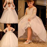 2020 blanches manches longues arabes fleur fille robe pure cou de dentelle perles sans rechange enfant robe de mariée vintage petite fille pageant robe