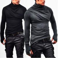 T-shirt uomo Plus Guanti Piumini collo alto Manica lunga Solid Casual Hip Hop Street Plus Taglia M- 3XL Europen American Fashion Tops