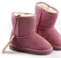 ПОДАРОК 2020 года Классические короткие детские ботинки снега для девочек зимние сапоги детские Детские сапоги из натуральной кожи зимние сапоги Размер Eur: 21-35