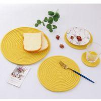 Japanische Woven Tischmatte Baumwolle verdickt Seil Hitzebeständige Isolierung Einfachheit Untersetzer Topf Pads Esstisch Mats HHA1158