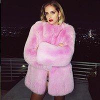 Мех пальто Женщины Розовый Зеленый Черный 6 Цвет S-4XL Плюс Размер Искусственный Меховой Куртка Осень Зимняя Мода Свободная Тепло Одежда CX979