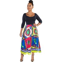 Womens Pleated A- line Midi Skirt Fashion Print High Waist Pa...