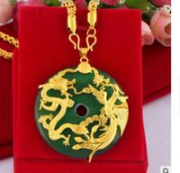 Soolog Soologite High-End Niski cena Wysokiej Jakości Natural High Jade Inlay Dragon * Phoenix Wisiorek Gold Fiiled Necklacei Up-Market