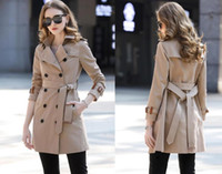 HOT NEW! fashion England middle long version women trench coat high quality brand new desig double breasted trench for women B8127F370 S-XXL