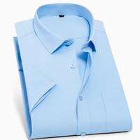 QISHA Homens Casual Camisa de Manga Curta Negócio Regular Fit Camisa de Vestido Masculino Branco Azul Sarja Planície Tops Grande8XL 7XL 6XL 5XL